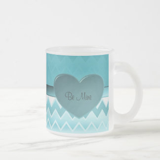 Heart zigzag-Teal Frosted Glass Coffee Mug