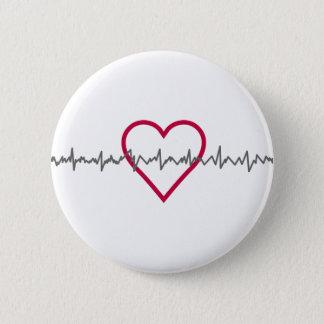 Heartbeat 6 Cm Round Badge
