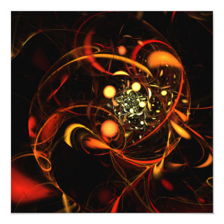 Heartbeat Abstract Art 13 Cm X 13 Cm Square Invitation Card