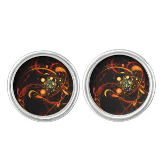 Heartbeat Abstract Art Silver Plated Cufflinks