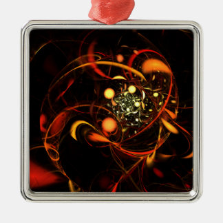Heartbeat Abstract Art Square Silver-Colored Square Decoration