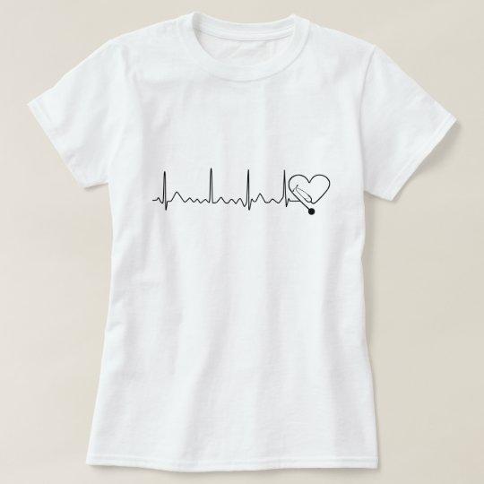 Heartbeat Heart Rate Nurse Doctor Stethoscope T-Shirt