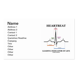 Heartbeat Leading Indicator Of Life (ECG/EKG) Business Card Templates
