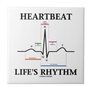 Heartbeat Life's Rhythm (ECG/EKG) Small Square Tile