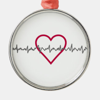 Heartbeat Silver-Colored Round Decoration