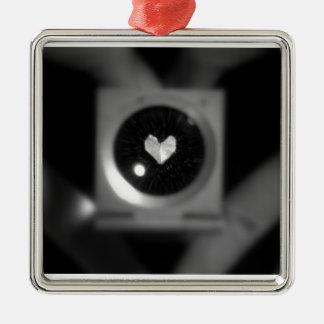 Heartbeat Silver-Colored Square Decoration