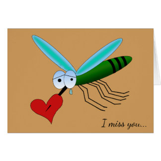 Heartbroken  Mosquito With  Heart & Custom Text Card