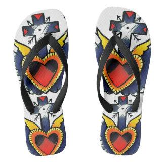 hearted cross tattoo flip flops