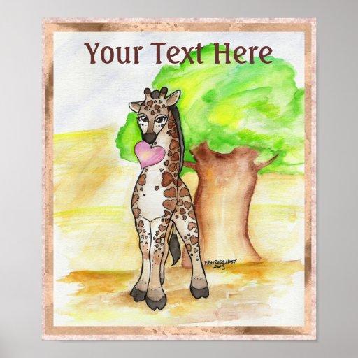 Heartfelt Giraffe Poster