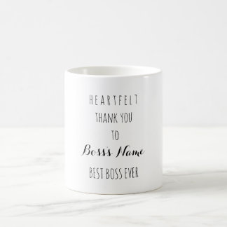 Heartfelt Thank You Best Boss Ever Typography Coffee Mug