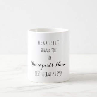 Heartfelt Thank You Best Therapist Ever Typography Coffee Mug