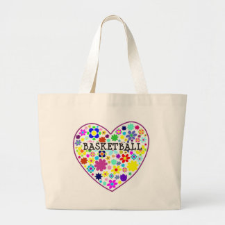 heartfilledwithflowers-basketball. large tote bag