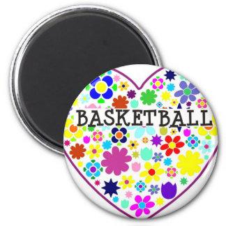 heartfilledwithflowers-basketball. 6 cm round magnet