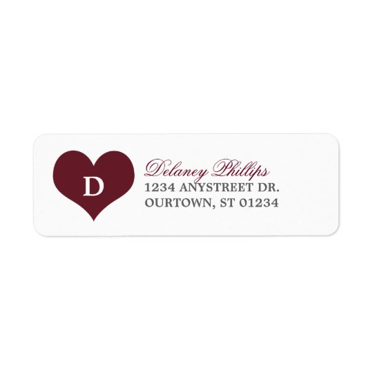 Heartline (burgundy) Address Label