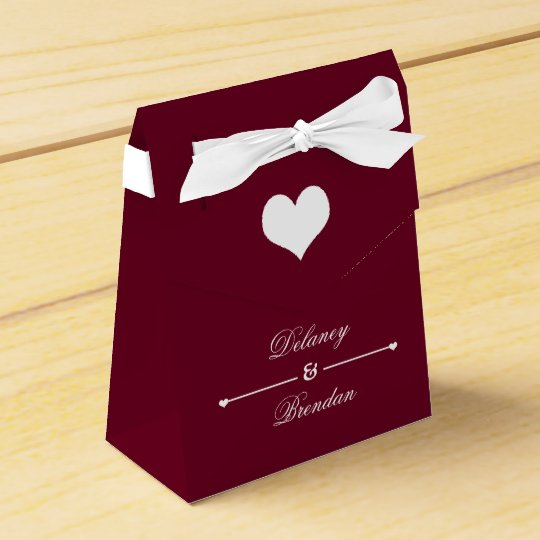 Heartline (burgundy) Personalised Wedding Favour Box