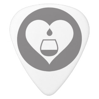 Hearts2Tails Black Logo Guitar Pick Two-Sided White Delrin Guitar Pick
