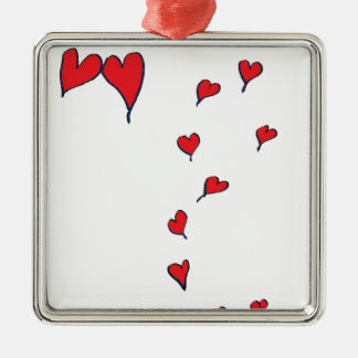hearts 1 by tony fernandes Silver-Colored square decoration
