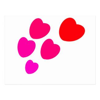 Hearts-5 baloon postcard