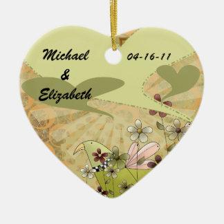 Hearts A Flutter Customized Wedding Keepsake Ceramic Heart Decoration