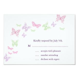 Heart's a Flutter RSVP 9 Cm X 13 Cm Invitation Card
