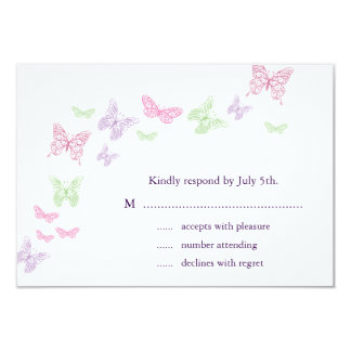 Heart's a Flutter RSVP 9 Cm X 13 Cm Invitation Card