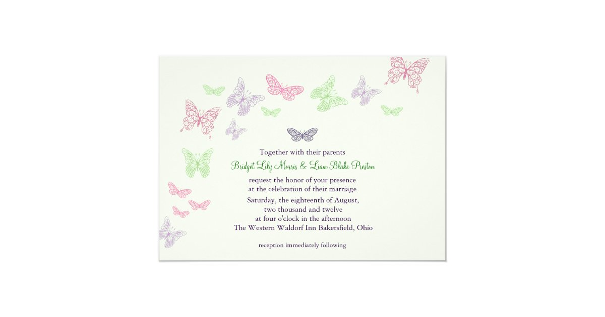 Heart Wedding Invitations Uk: Heart's A Flutter Wedding Invitation (green)