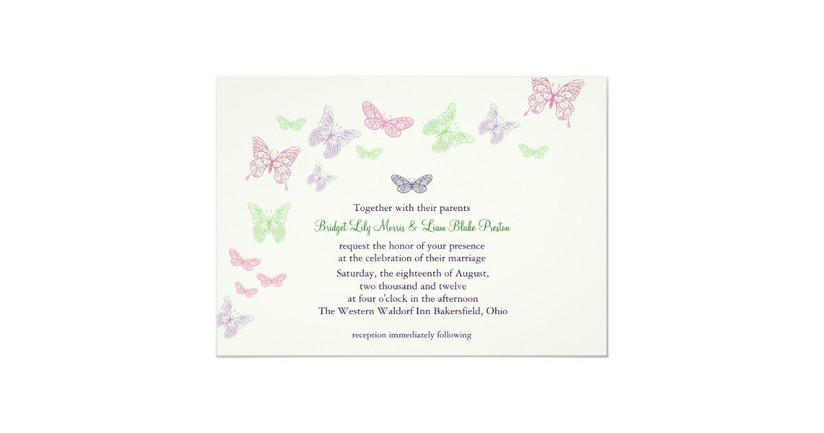 Heart Wedding Invitations Uk: Heart's A Flutter Wedding Invitation (green)