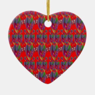 Hearts Abstract Double-Sided Heart Ceramic Christmas Ornament