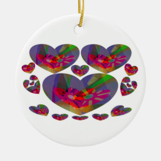 Hearts Abstract Double-Sided Ceramic Round Christmas Ornament