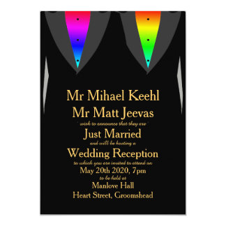 Hearts Aglow with Pride Gay Reception Invitation