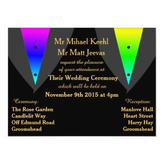 Hearts Aglow with Pride Gay Wedding Invitations