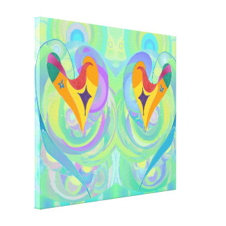 Hearts All At Sea Duo, small Canvas Print