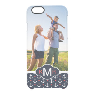 Hearts & Anchors Pattern| Your Photo & Monogram Clear iPhone 6/6S Case