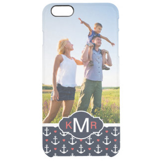 Hearts & Anchors Pattern| Your Photo & Monogram Clear iPhone 6 Plus Case