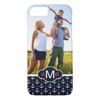 Hearts & Anchors Pattern| Your Photo & Monogram iPhone 8/7 Case