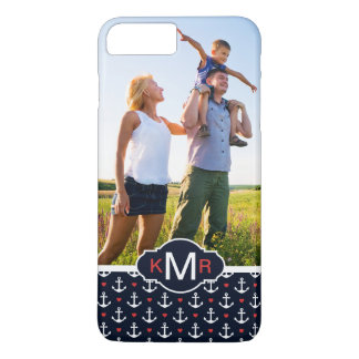 Hearts & Anchors Pattern| Your Photo & Monogram iPhone 8 Plus/7 Plus Case