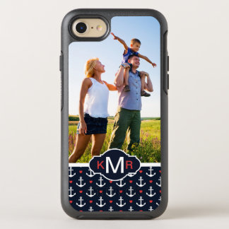 Hearts & Anchors Pattern | Your Photo & Monogram OtterBox Symmetry iPhone 8/7 Case