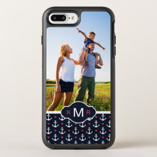 Hearts & Anchors Pattern | Your Photo & Monogram OtterBox Symmetry iPhone 8 Plus/7 Plus Case