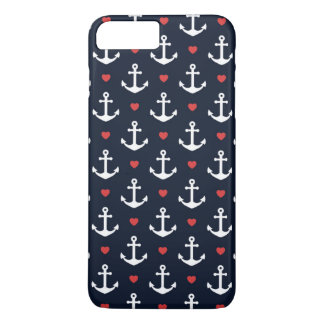 Hearts And Anchors Pattern iPhone 8 Plus/7 Plus Case