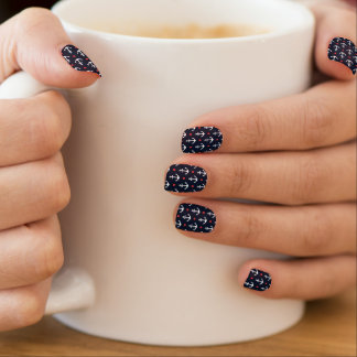 Hearts And Anchors Pattern Minx Nail Art