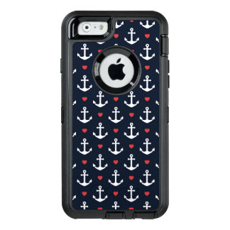 Hearts And Anchors Pattern OtterBox Defender iPhone Case