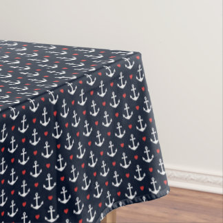 Hearts And Anchors Pattern Tablecloth