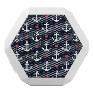 Hearts And Anchors Pattern White Bluetooth Speaker