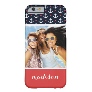 Hearts And Anchors Pattern | Your Photo & Name Barely There iPhone 6 Case