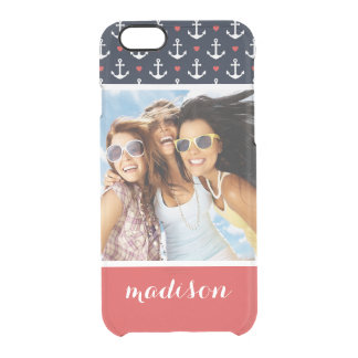 Hearts And Anchors Pattern | Your Photo & Name Clear iPhone 6/6S Case