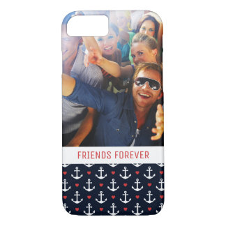 Hearts And Anchors Pattern | Your Photo & Text iPhone 8/7 Case