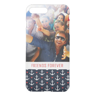 Hearts And Anchors Pattern | Your Photo & Text iPhone 8 Plus/7 Plus Case