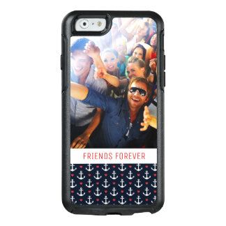 Hearts And Anchors Pattern | Your Photo & Text OtterBox iPhone 6/6s Case