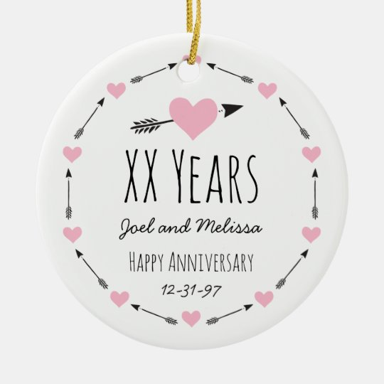 Hearts and Arrows Personalised Wedding Anniversary Christmas