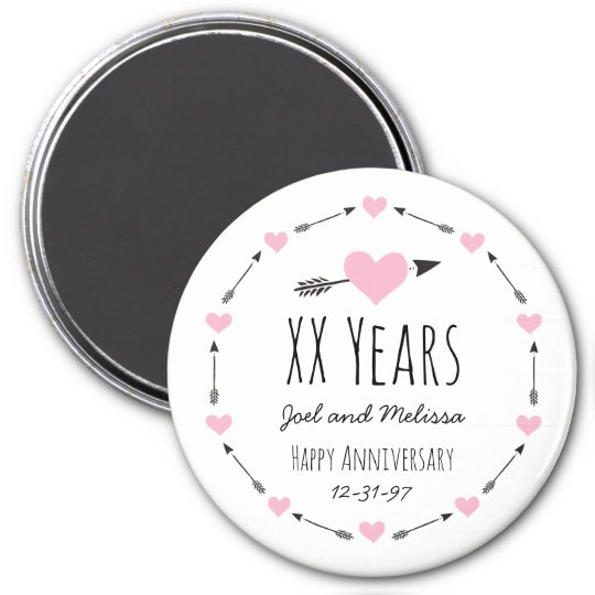 Hearts and Arrows Personalised Wedding Anniversary Magnet